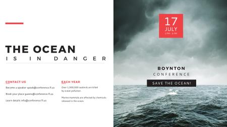 Ontwerpsjabloon van FB event cover van Ecology Conference Stormy Sea Waves