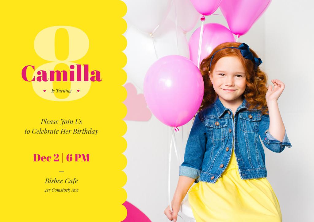 Little girl with balloons — Создать дизайн