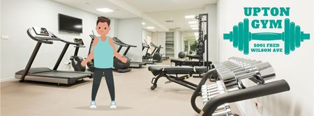 Man exercising in gym Facebook Video cover Modelo de Design