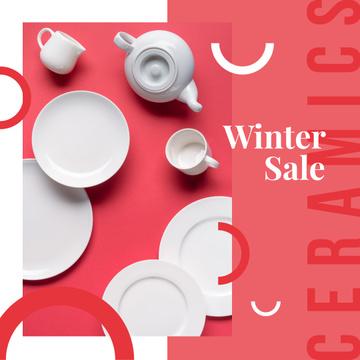 Kitchen ceramic tableware on Red