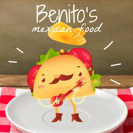 Mexican taco cartoon character playing Guitar on Plate Animated Post Modelo de Design