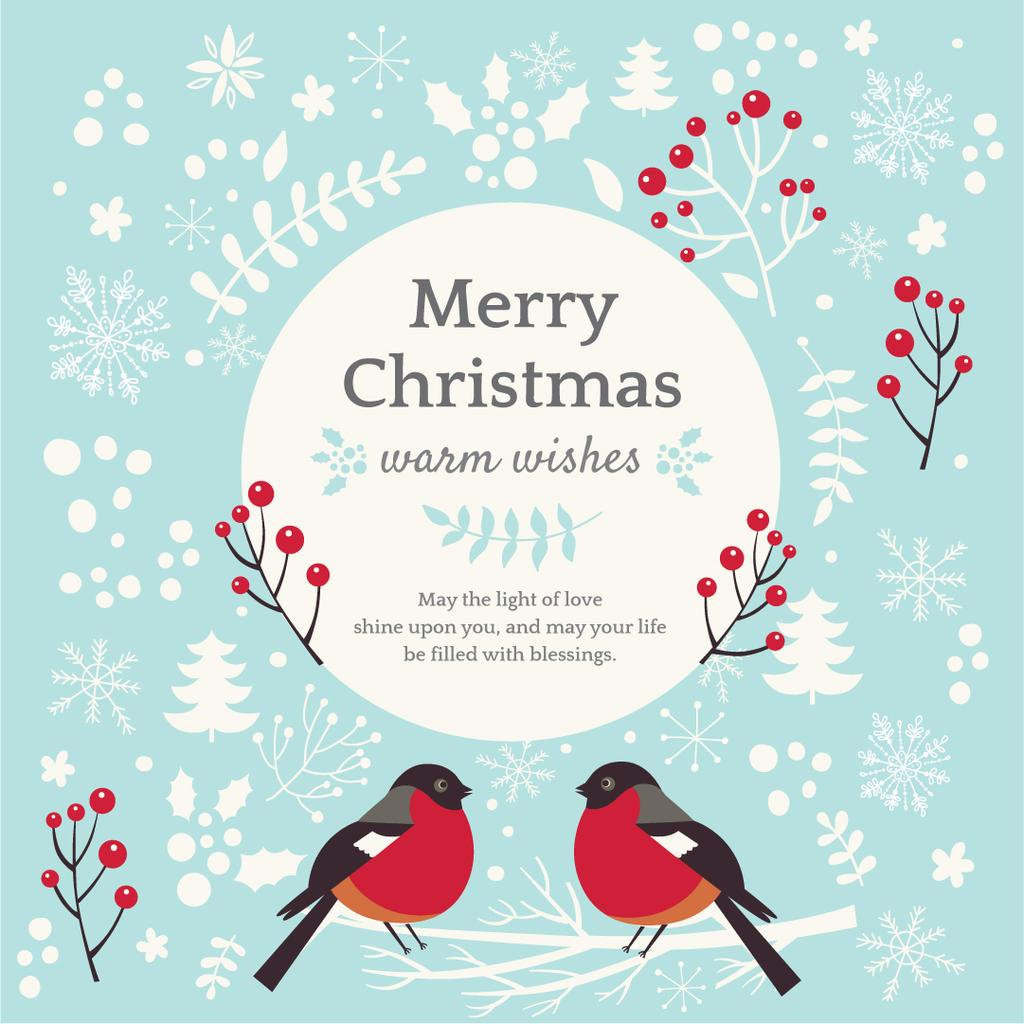 Christmas Greeting with bullfinch birds — Create a Design
