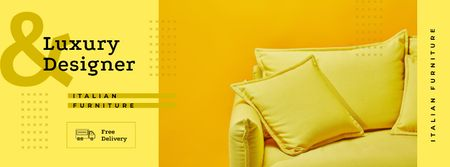 Plantilla de diseño de Yellow pillows and sofa Facebook cover