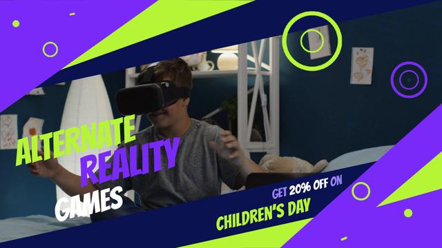 Boy using vr glasses Full HD video – шаблон для дизайна