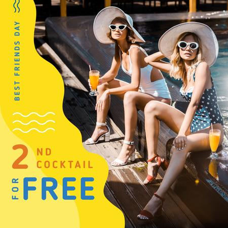 Young women with cocktails on Best Friends Day Instagram Design Template