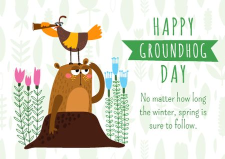 Plantilla de diseño de Groundhog day greeting card Postcard