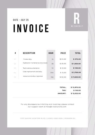 Plantilla de diseño de IT Company Services in Abstract Frame Invoice