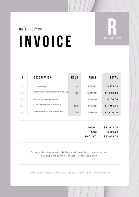 IT Company Services in Abstract Frame Invoiceデザインテンプレート