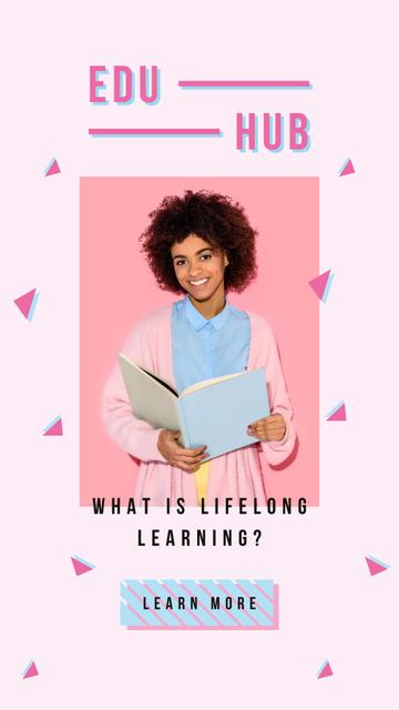 Young woman reading book Instagram Story Design Template
