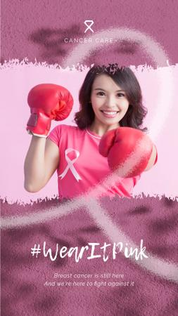 Plantilla de diseño de Cancer Awareness Woman in Boxing Gloves on Pink Instagram Video Story