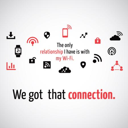 Wi-Fi technology sign and icons Instagram AD Modelo de Design