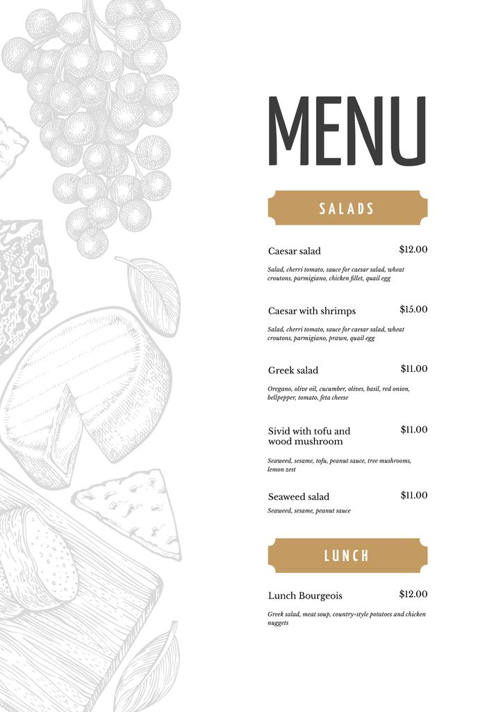 Restaurant dishes list — ein Design erstellen