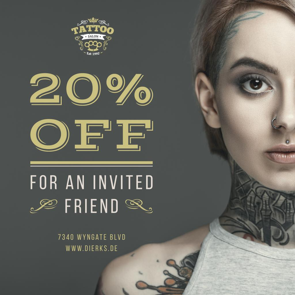 Tattoo Studio Ad Young Tattooed Girl — Maak een ontwerp