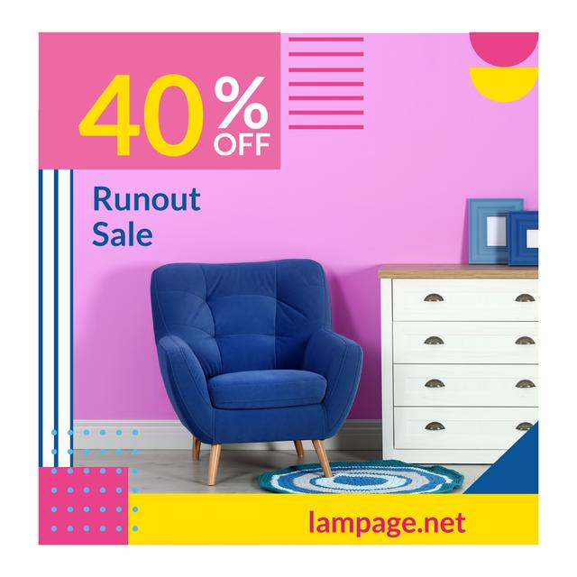 Designvorlage Furniture Sale with Armchair in Colorful Interior für Animated Post