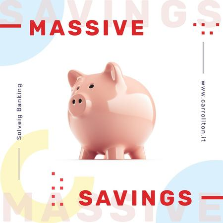 Ontwerpsjabloon van Instagram van Savings Service Ad Ceramic Piggy Bank