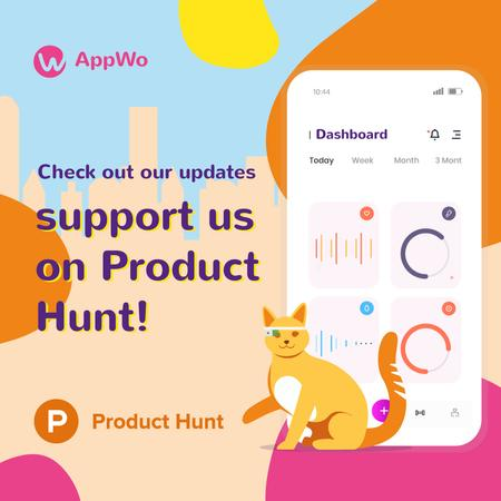 Product Hunt App Stats on Screen Instagram Tasarım Şablonu