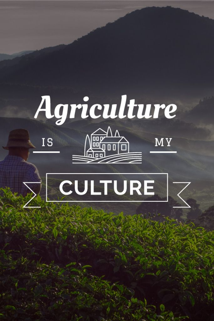 Agriculture is my life poster with farmer — Maak een ontwerp