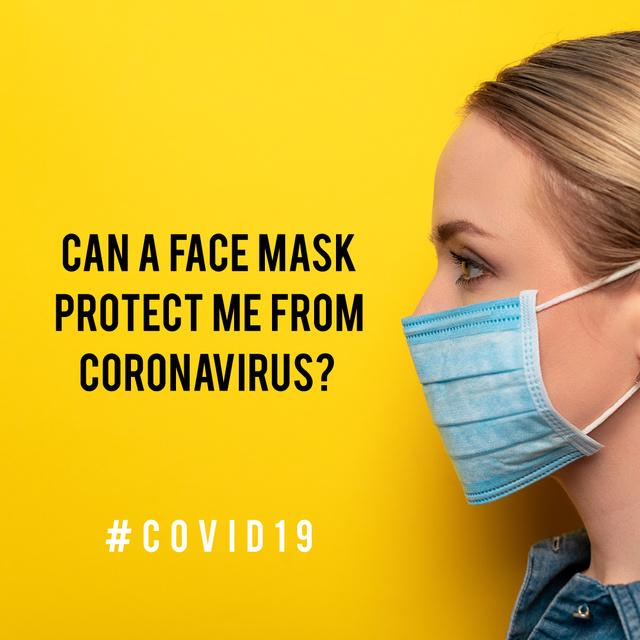 Ontwerpsjabloon van Instagram van #Covid19 awareness with Woman wearing Mask
