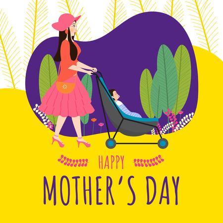 Mother with baby in stroller on Mother's Day Instagram Modelo de Design