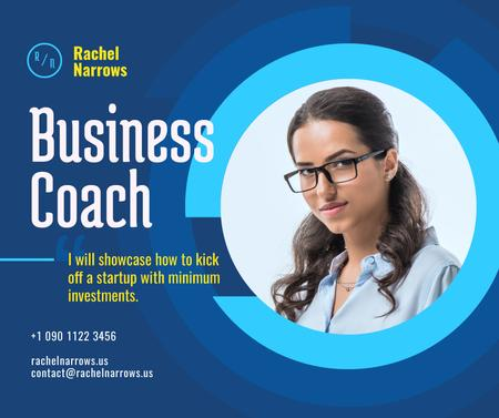 Business Coach Ad Confident Woman in Glasses Facebookデザインテンプレート