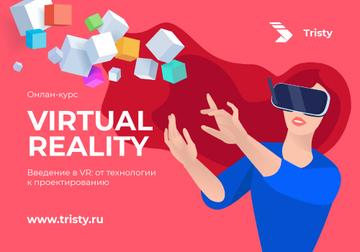 VR courses ad Woman in glasses