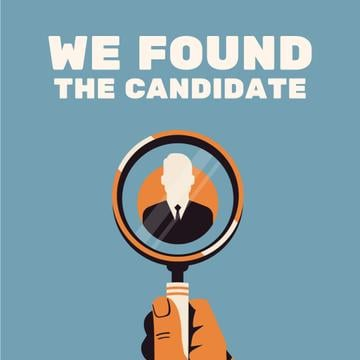 Hand with magnifying glass searching candidates