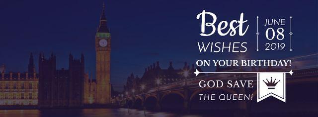 Ontwerpsjabloon van Facebook cover van Queen's Birthday Greeting with London View