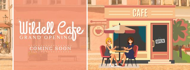 Cafe Invitation with Women Drinking Coffee Facebook Video coverデザインテンプレート