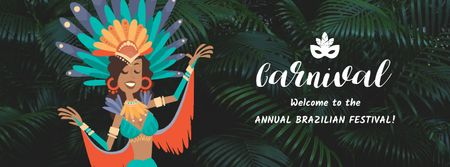 Plantilla de diseño de Woman dancing at Brazilian carnival Facebook Video cover
