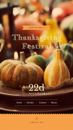 Szablon projektu Thanksgiving Festival Small Pumpkins for Decoration Instagram Story