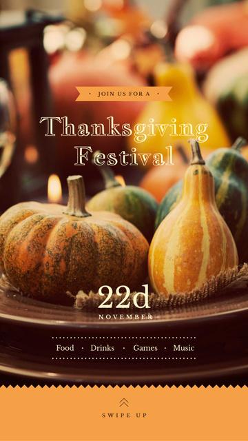Plantilla de diseño de Thanksgiving Festival Small Pumpkins for Decoration Instagram Story