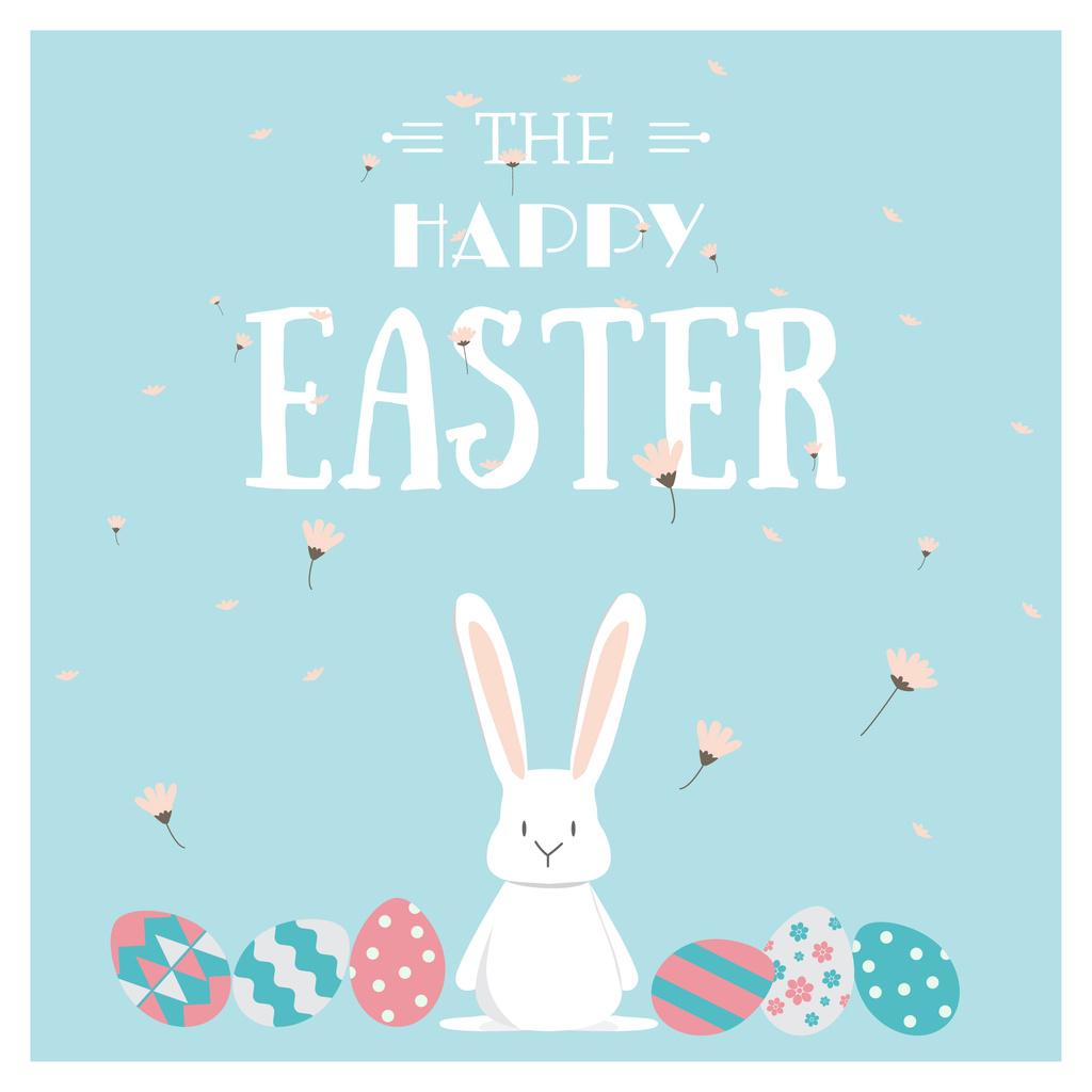 Easter Cute Bunny with Colored Eggs — Modelo de projeto