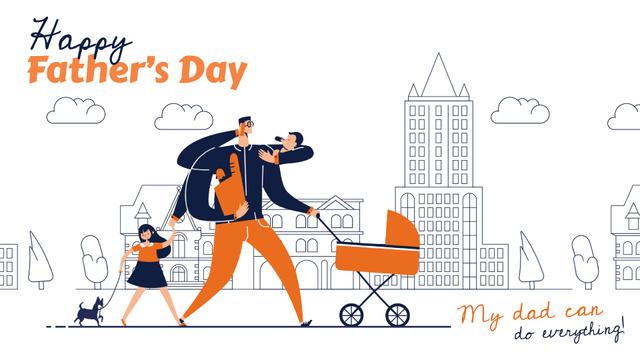 Plantilla de diseño de Father with kids shopping Full HD video