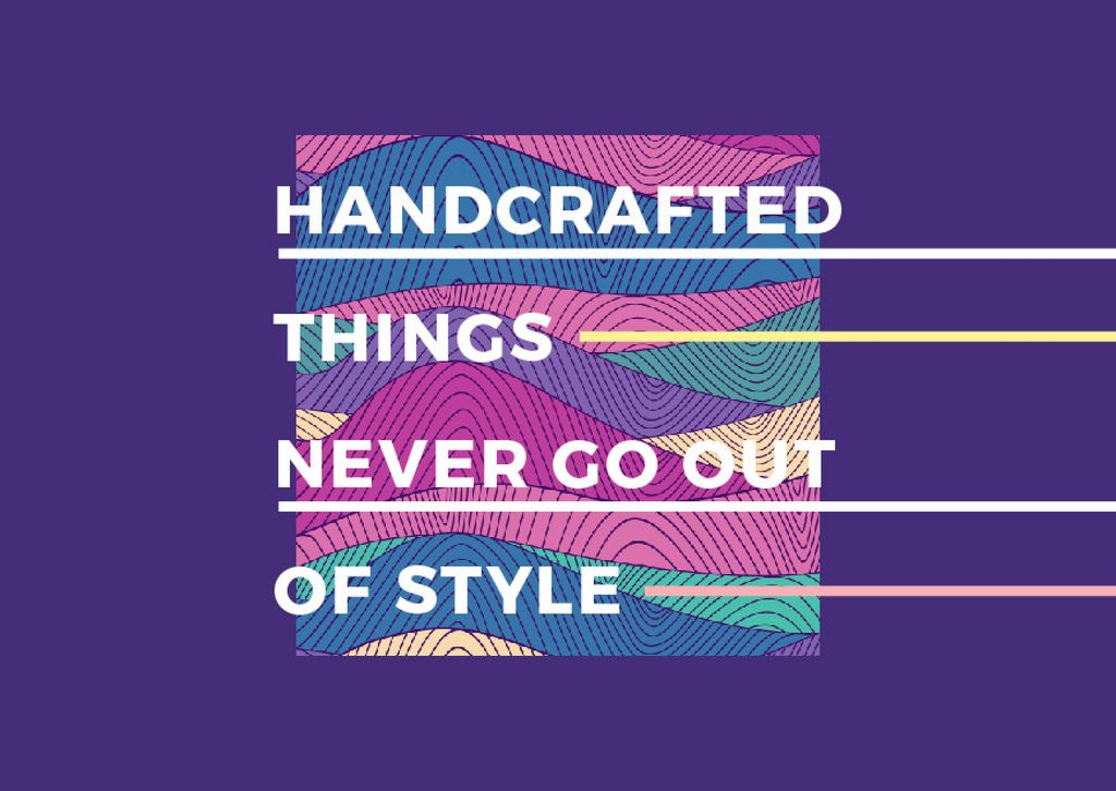 Handcraft Quote with Colourful Lines and Waves Postcard Design Template