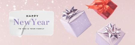 Gift boxes for New Year greeting Email headerデザインテンプレート