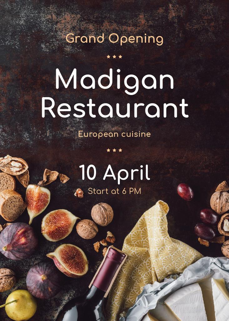 Restaurant Grand Opening Wine and Fruits on Table — Maak een ontwerp
