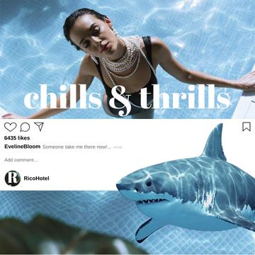 Fashionable Woman in Swimming Pool with Shark