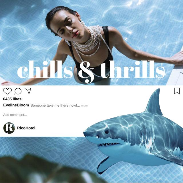 Template di design Fashionable Woman in Swimming Pool with Shark Animated Post