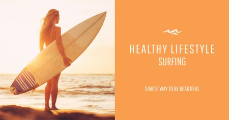 Plantilla de diseño de Surfing lifestyle with Young Girl Facebook AD