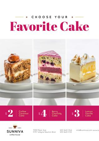 Plantilla de diseño de Bakery Ad with Assortment of Sweet Cakes Poster