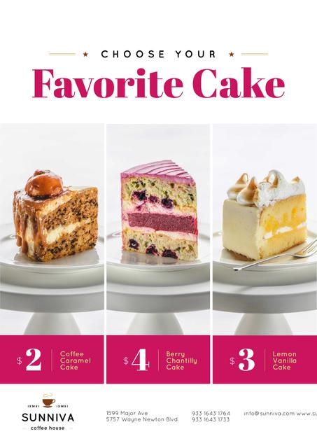 Bakery Ad with Assortment of Sweet Cakes Poster Tasarım Şablonu