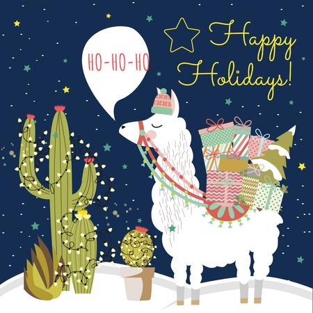 Happy Holidays Greeting with Lama holding Gifts Instagram Design Template