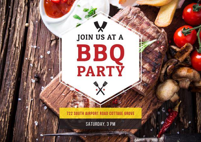 Plantilla de diseño de BBQ Party Invitation with Grilled Steak Postcard