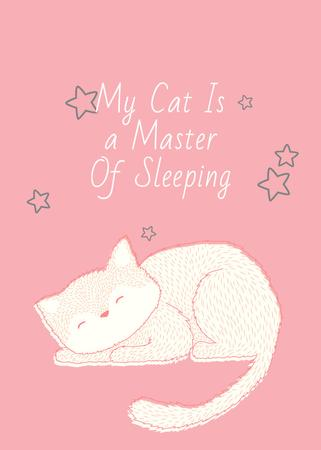 Cute Cat Sleeping in Pink Invitation Modelo de Design