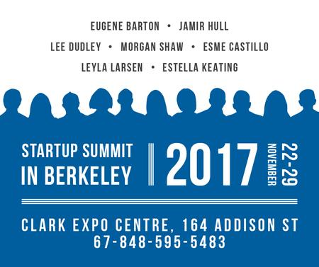 Startup Summit Announcement Businesspeople Silhouettes Facebook Tasarım Şablonu