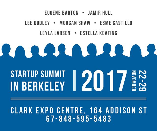 Startup Summit Announcement Businesspeople Silhouettes Facebookデザインテンプレート