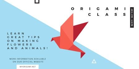 Plantilla de diseño de Origami class Invitation with Paper Bird Twitter