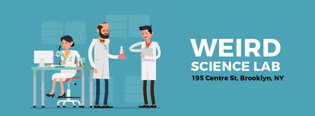 Team of scientists in laboratory Facebook Video cover Modelo de Design