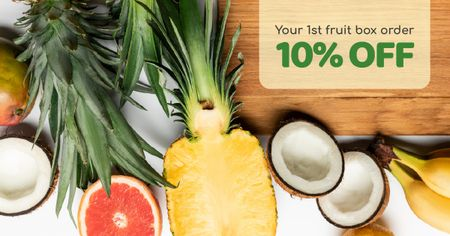 Template di design Food Store Offer Fresh Tropical Fruits Facebook AD