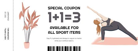Template di design Sport Items Offer with Woman doing Exercises Coupon